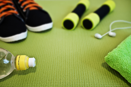 Sports concept. Accessories for fitness classes. Focus on the foreground. Stok Fotoğraf