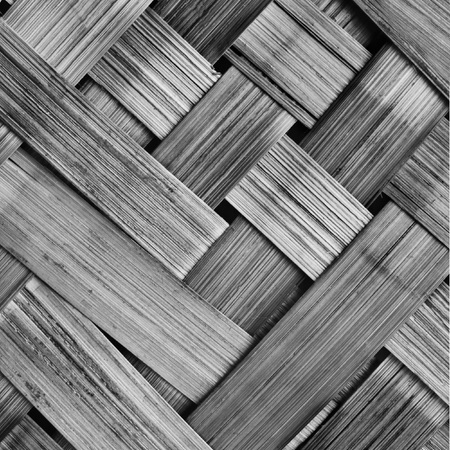 Close up detail view of a wicker basket weave with natural materials.