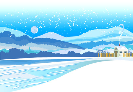 Vector of winter landscape. Snowy Christmas night village Çizim