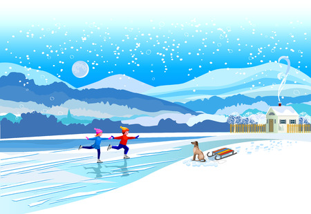 Ice skating boy and girl. Vector of winter landscape. Çizim