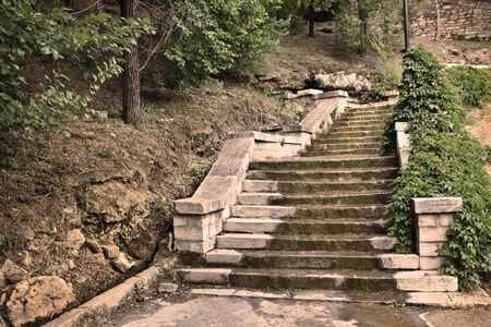 Old damaged stone staircase Stok Fotoğraf