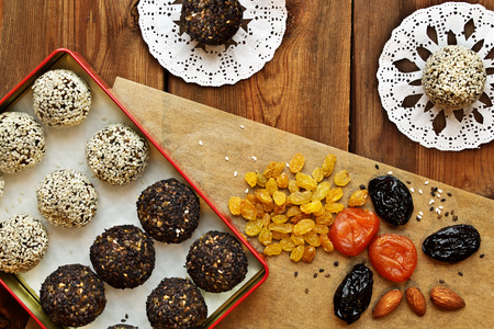 vegetarian foods. homemade candy of dried apricots, raisins, nuts, prunes, sesame