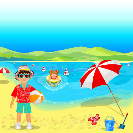 Summer vacation by the sea. People are resting on the beach. Children play with a ball and swimming.
