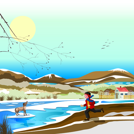 boy rescues a dog that is on the ice floating on the river Illustration