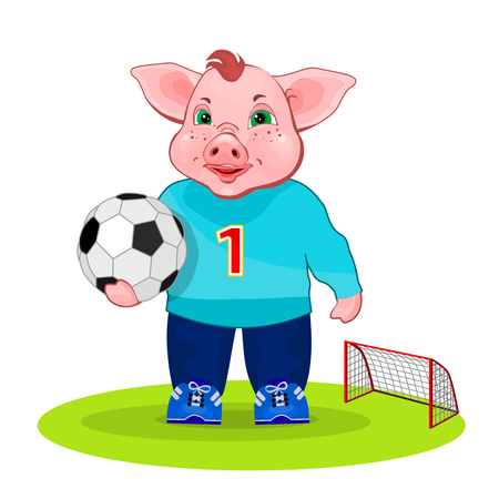 Soccer player. Pig play a football.
