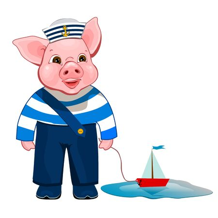 Little Pig and a toy ship cartoon.