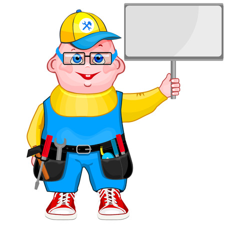 Cute cartoon illustration of a mechanic. Çizim