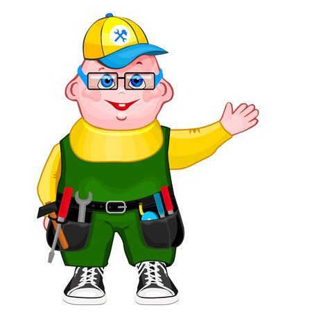 handyman wearing work clothes and a belt with tools. Çizim