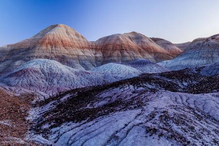 Alien-looking landscape of Arizonas Painted desert.