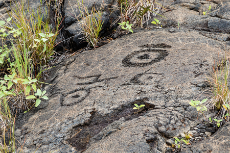 Petroglyphs  at Puuloa (Long Hill) along the Chain of Craters road, in volcano National Park on the island of Hawaii. The drawings are 400-700 years old. Stock Photo