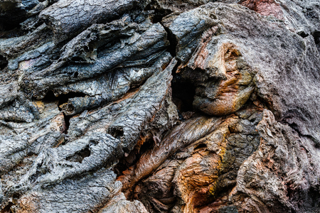 Closeup of colorful pahoehoe lava formation along Chain of Craters Road, in Volcano National Park on Hawaiis Big Island.