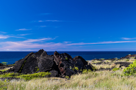 View of rugged coastline on Hawaiis Big Island in Volcano National Park. Black volcanic rocks and vegetation are in the foreground; deep blue Pacific ocean and sky are in the distance.
