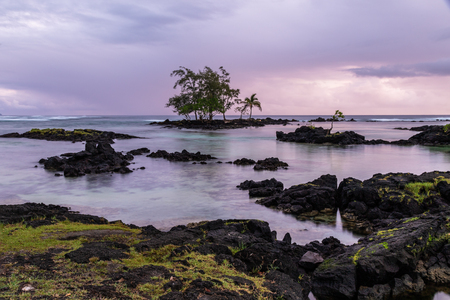 Rocky shore at sunrise in Hilo, Hawaii. Volcanic rock and grass on shore; crystal clear water with rocks at low tide; trees on offshore outcrop. Pacific ocean in distance, storm clouds overhead.