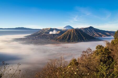 Mount Bromo volcano, island of East Java, Indonesia. Clouds cover the valley floor; Luhur Poten Temple at the foot of the cone. Gas from another volcano in the background rising against the blue sky. Brush in foreground to right. Stockfoto - 136725438