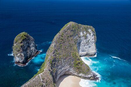 View of Kelinking beach also known as T-Rex cliff point, Nusa Pendia, Bali, Indonesia.
