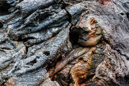 Closeup of colorful pahoehoe lava formation along Chain of Craters Road, in Volcano National Park on Hawaii's Big Island.