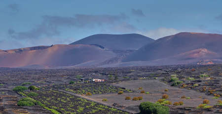 Volcanic landscape at Timanfaya National Park on Lanzarote Island on the Canary Islands in Spain 免版税图像