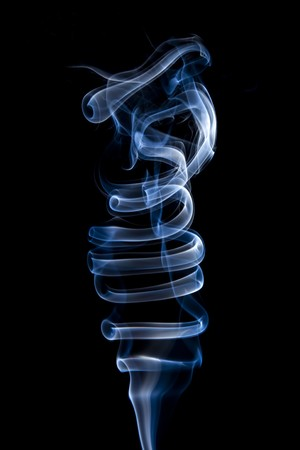 particulate: Closeup shots of smoke rising off incense. Stock Photo