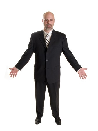 Stock photo of a well dressed businessman facing forward and holding his arms out in a friendly gesture, full length, isolated white.