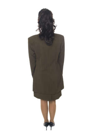 Isolated full length studio shot of the back side of a businesswoman. Stock Photo - 8046663