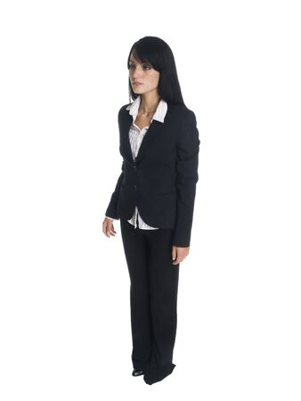 pantsuit: Isolated full length studio shot of a businesswoman rotating 360 degrees. Stock Photo