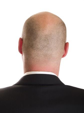Stock photo de l'arri�re de la t�te d'un homme d'affaires, isol� sur blanc.