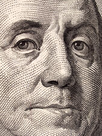 onehundred: Stock macro photo of a United States one hundred dollar bill, featuring Benjamin Franklin and Independence Hall.