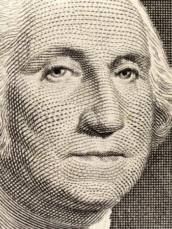 george washington: Foto de macro de existencias de un proyecto de ley de un d�lar de los Estados Unidos, con George Washington.  Foto de archivo