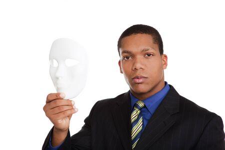 businessman holding blank mask