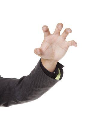 clawing: Fotografia da studio isolata di mano tesa di clawing di un imprenditore. Archivio Fotografico