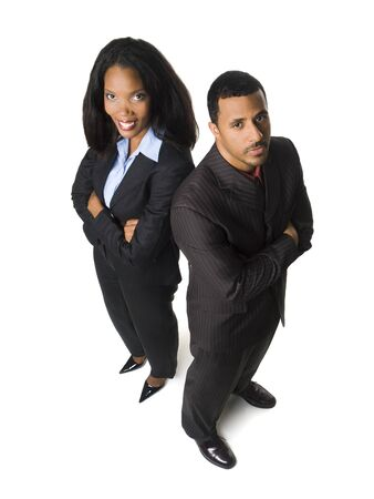 Isolated high angle glass ceiling concept shot of a happy businesswoman and an upset businessman. Stock Photo - 8081298