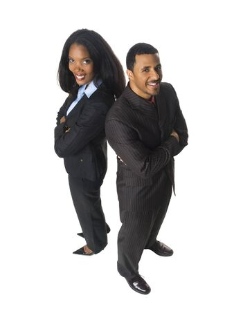 Isloated studio shot of an African American business team looking at the camera and smiling. Stock Photo - 8081262