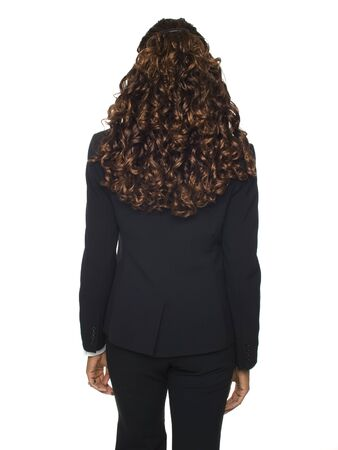 Isolated studio shot of the back side of a businesswoman. photo