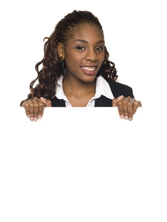 dgf15: Isolated studio shot of a businesswoman holding a big blank sign. Stock Photo