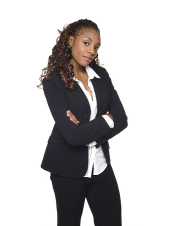 dgf15: Isolated studio shot of a confident businesswoman looking at the camera with her arms crossed.
