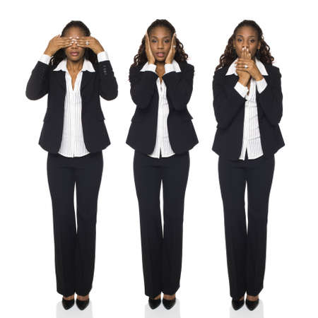 dgf15: Isolated full length studio shot of a businesswoman in the See No Evil, Hear No Evil, Speak No Evil poses.