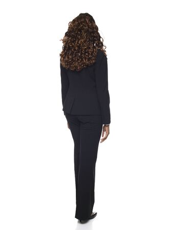 dgf15: Isolated studio shot of a businesswoman rotating through 360 degrees.