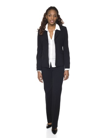 business attire: Isolated studio shot of a businesswoman rotating through 360 degrees.
