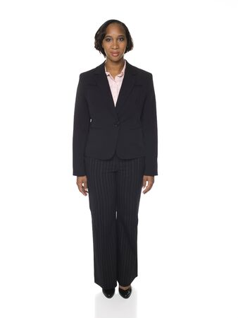 pantsuit: Isolated studio shot of a businesswoman rotating through 360 degrees.