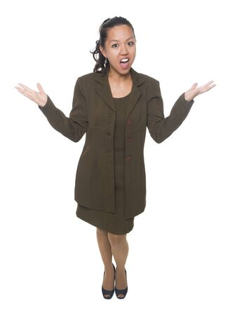 Isolated studio shot of a businesswoman raises her hands in disbelief. Stock Photo - 8081187