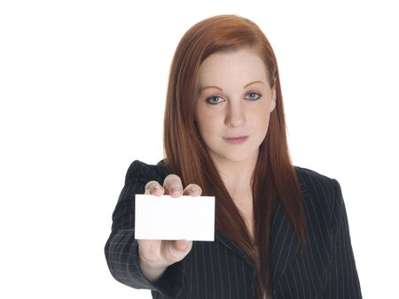 businesscard: Isolated studio shot of a businesswoman presenting a blank businesscard. Stock Photo