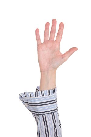 hands raised: Closeup isolated studio shot of the front view of a womans outstretched hand in a number five sign Stock Photo