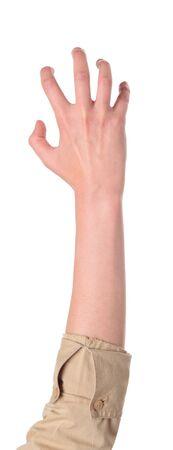 Close-up geïsoleerd studio shot van het vooraanzicht van een dames uitgestoken hand in een klauw