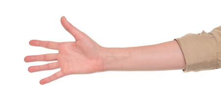 Closeup isolated studio shot of the front view of a womans outstretched hand in a number five sign Stock Photo