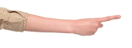 Closeup isolated studio shot of the rear view of a womans outstretched hand in a number one sign Stock Photo - 8044990