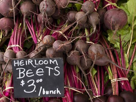 Beets - Organic produce on display at the Farmers Market. photo