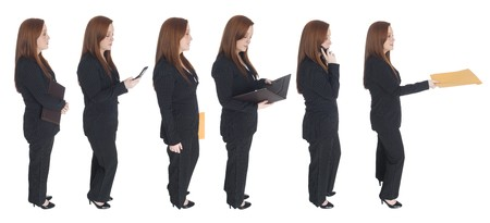 Isolated studio shot of a businesswoman standing in line with herself while performing a variety of activities. photo