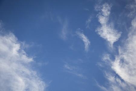 partially: A cheerful partially cloudy blue sky.