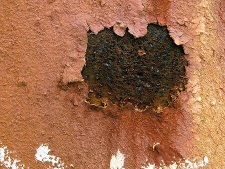 Stock macro photo of the texture of rusty metal with peeling paint.  Useful for grunge layer masks and abstract backgrounds. Stock Photo - 8051179