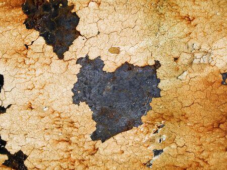 peeling paint: Foto a macroistruzione stock della trama di metallo arrugginito con peeling vernice.  Utile per le maschere di livello grunge e sfondi astratti. Archivio Fotografico